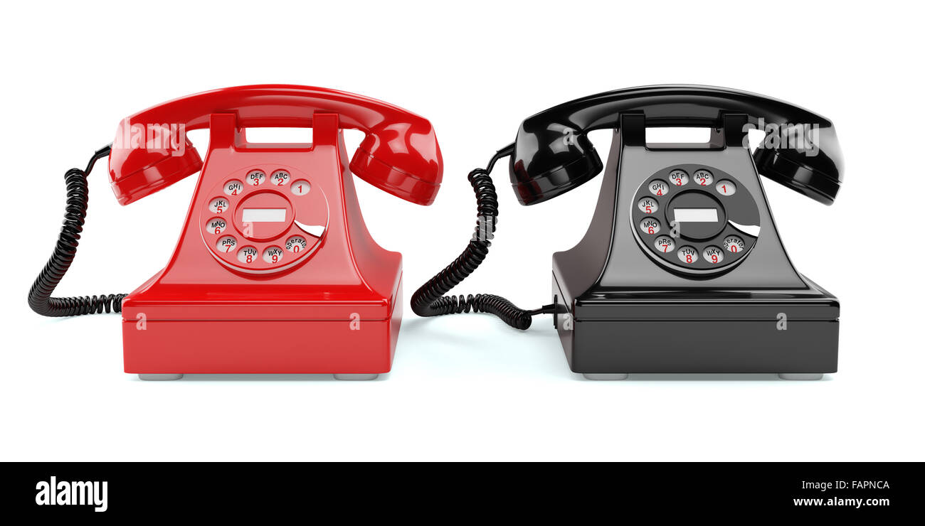 3d illustration of red and black old-fashioned phones isolated on white background - Stock Image