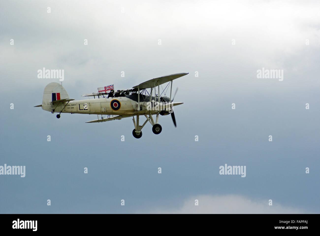 Fairey Swordfish in flight with Union Flag - Stock Image