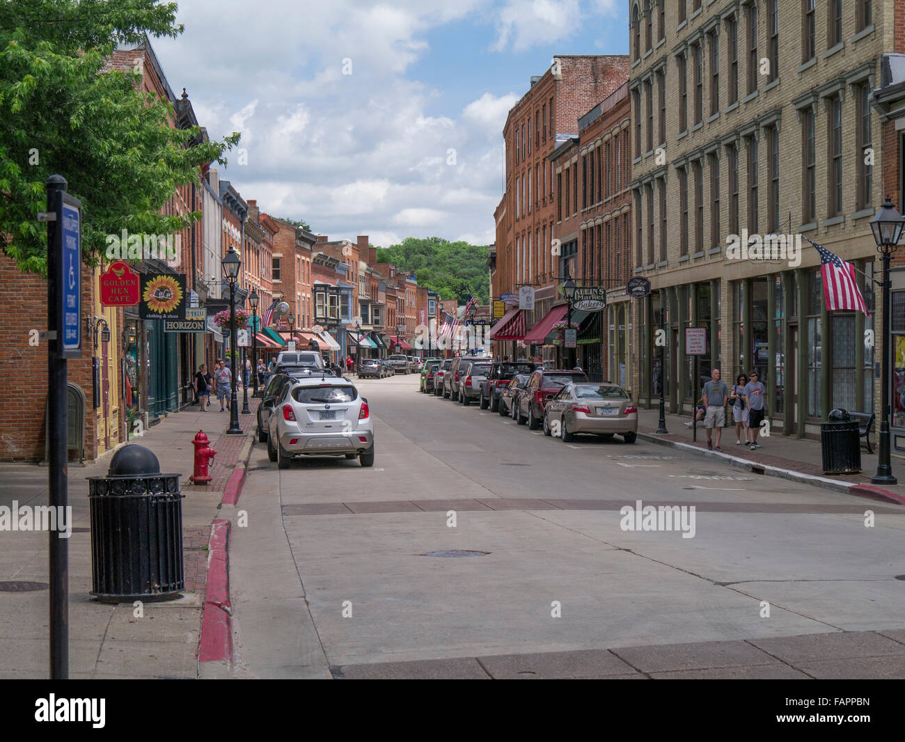 Main Street in Historic District of Galena Illinois listed on the National Register of Historic Places - Stock Image
