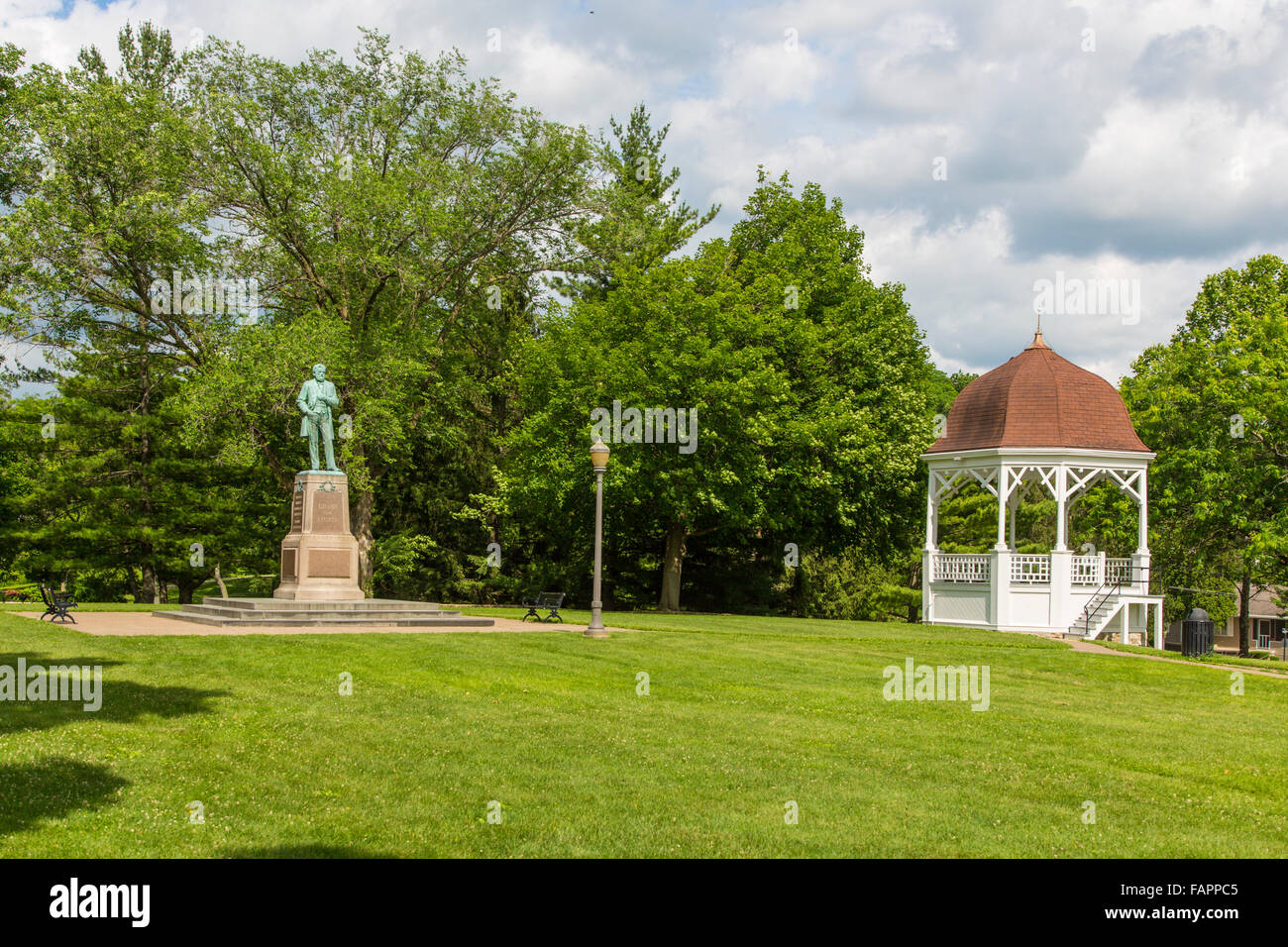 Grant Park on bank of Galena River in Galena Illinois - Stock Image
