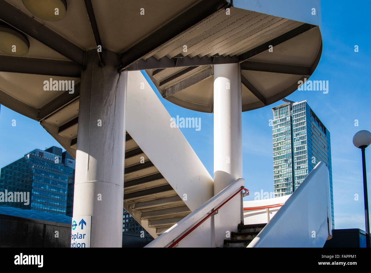 Poplar station stairway structure, Canary Wharf, London, England, U.K. - Stock Image