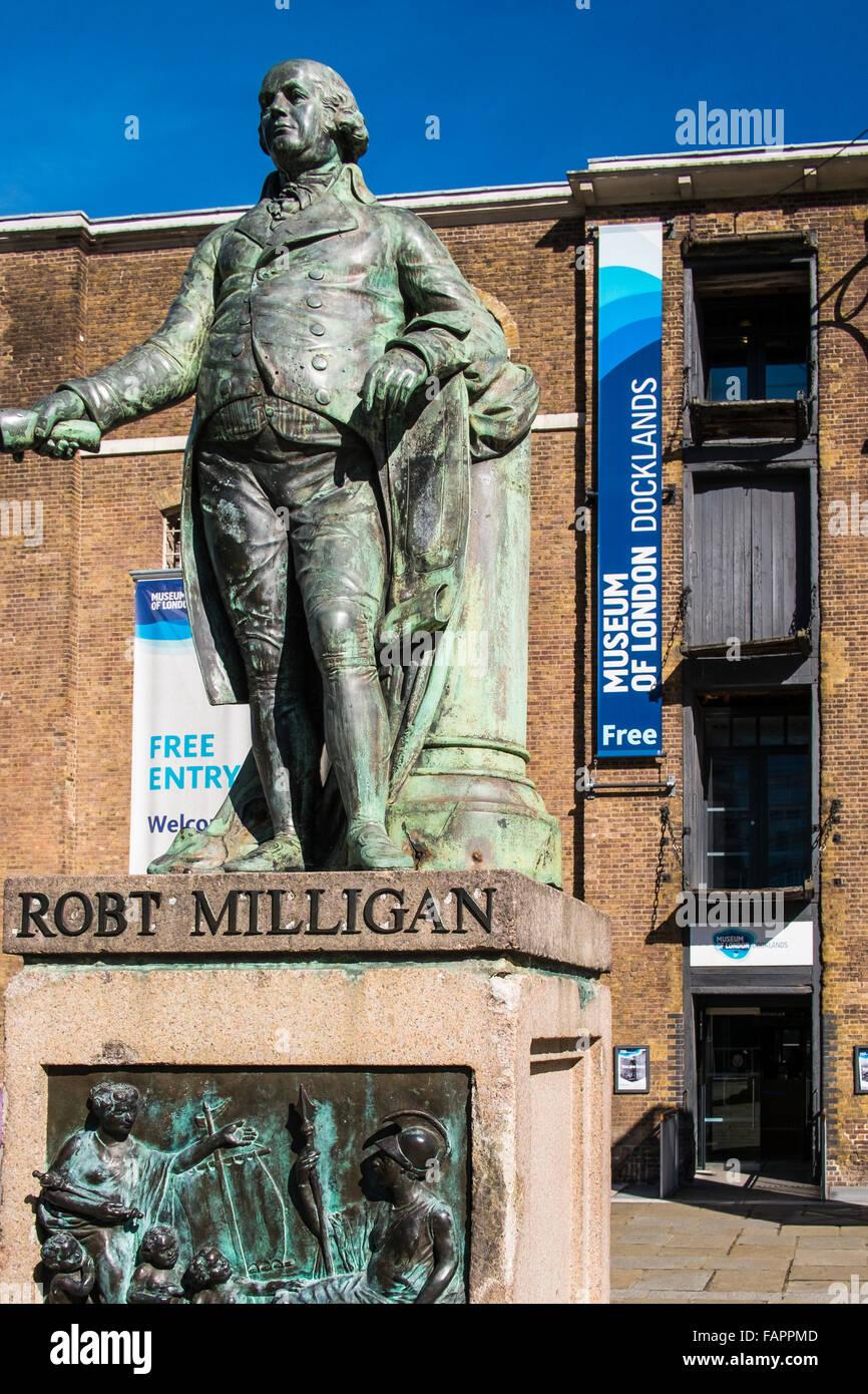 Robert Milligan statue, West India Quay, Canary Wharf, London, England, U.K. - Stock Image