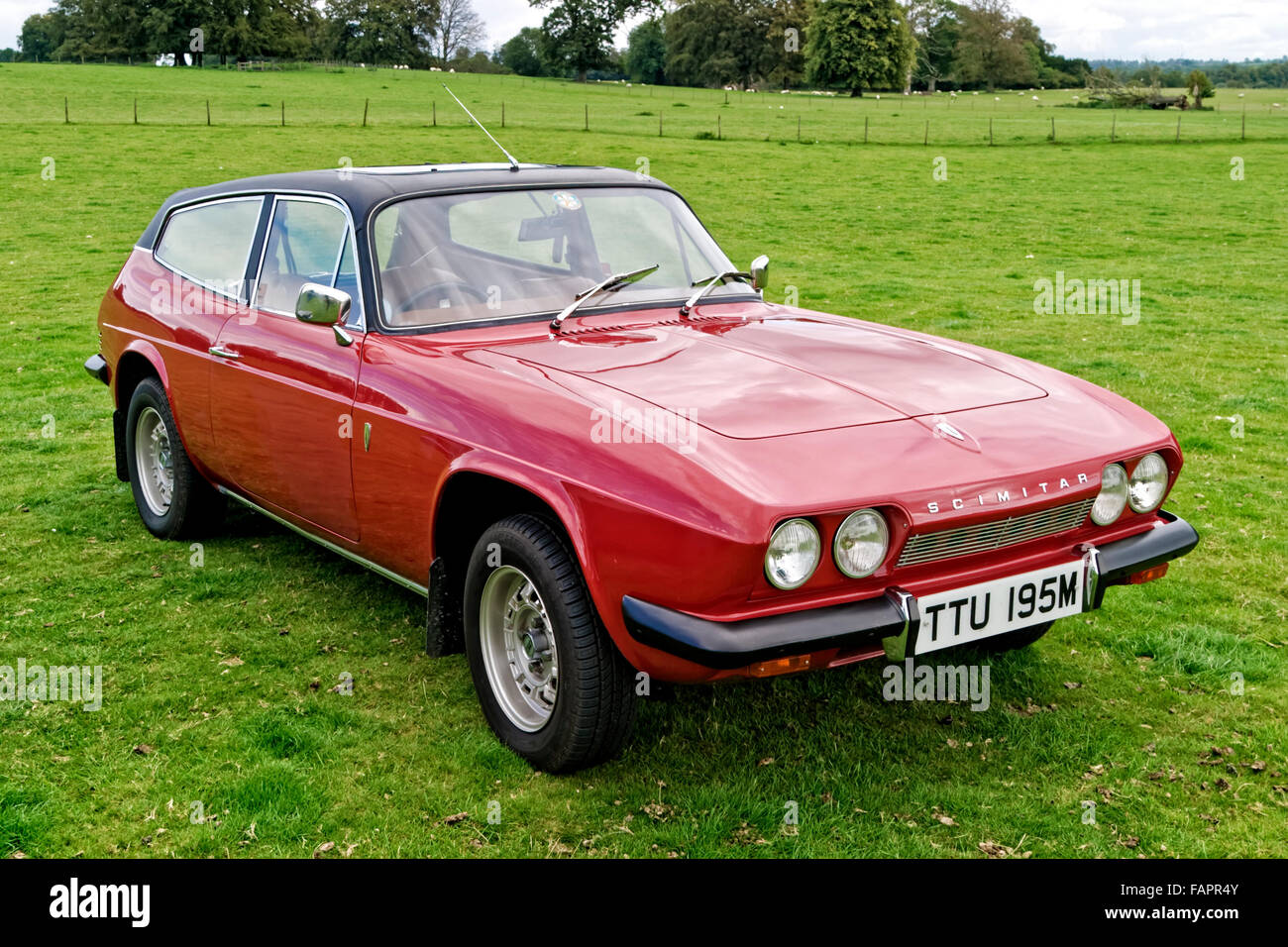 A Reliant Scimitar GTE 2 door coupe classic motor car at the Breamore House Classic Car Show, Hampshire, United - Stock Image