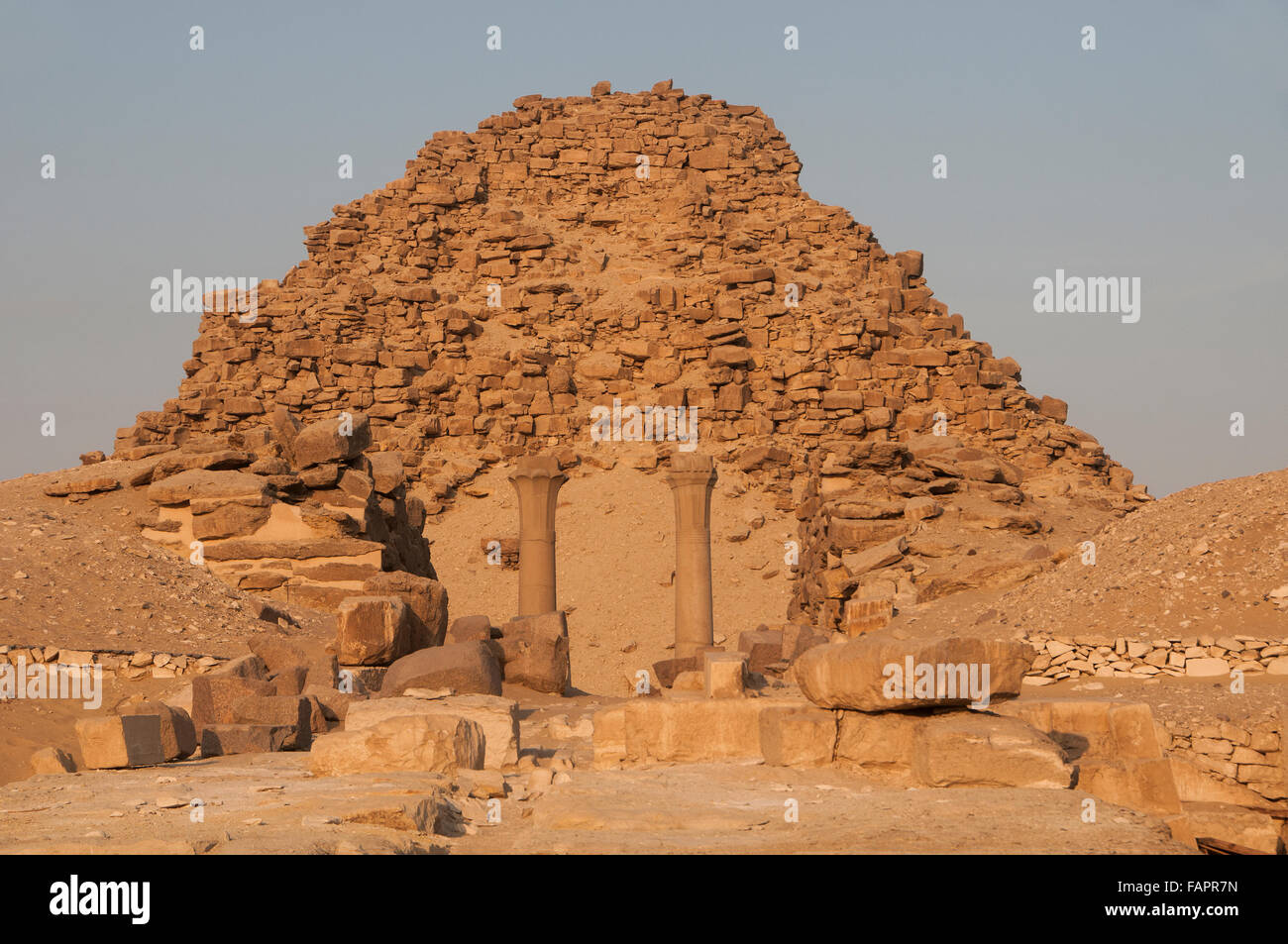 View of the Sun Temple of Userkaf for the pharaoh Userkaf founder of the 5th dynasty of Egypt (c. 2494–2345 BC) - Stock Image