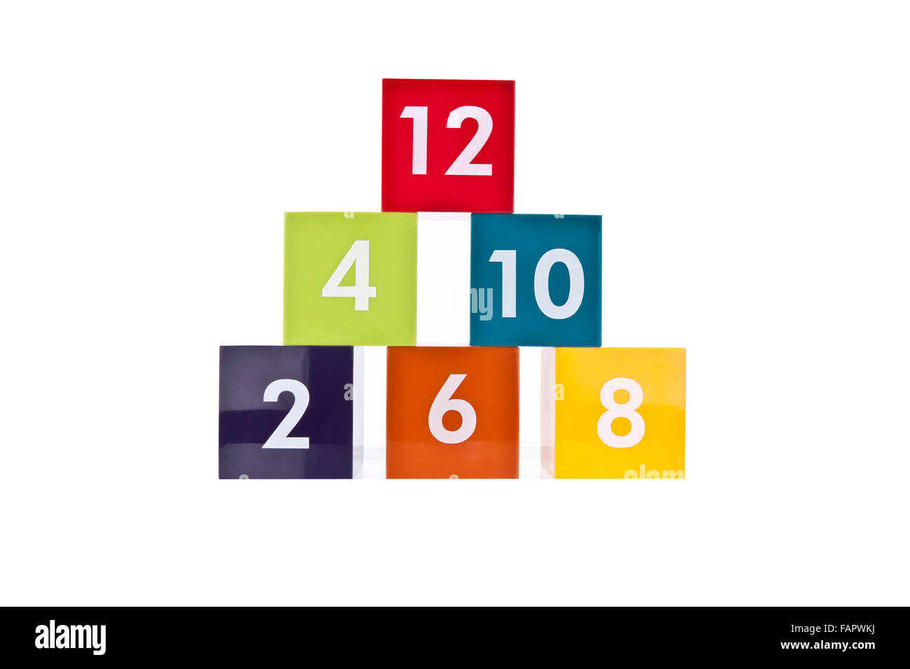 Colored Even Number Blocks on a white background - Stock Image