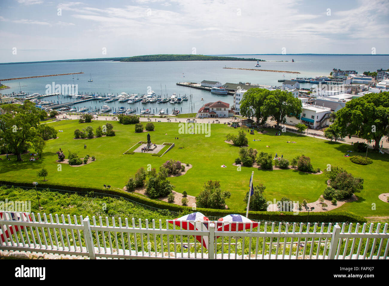 View from Fort Mackinac of park on resort island of Mackinac Island in Michigan - Stock Image