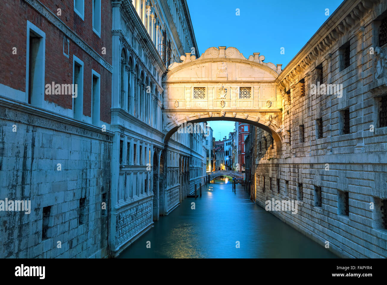Bridge of sighs in Venice, Italy at the sunrise Stock Photo
