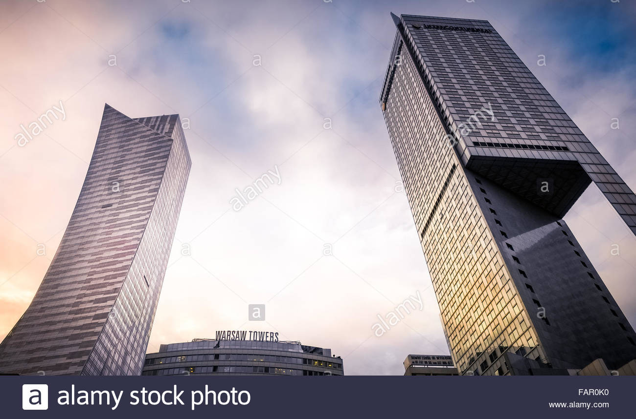 Warsaw towers Poland - Stock Image