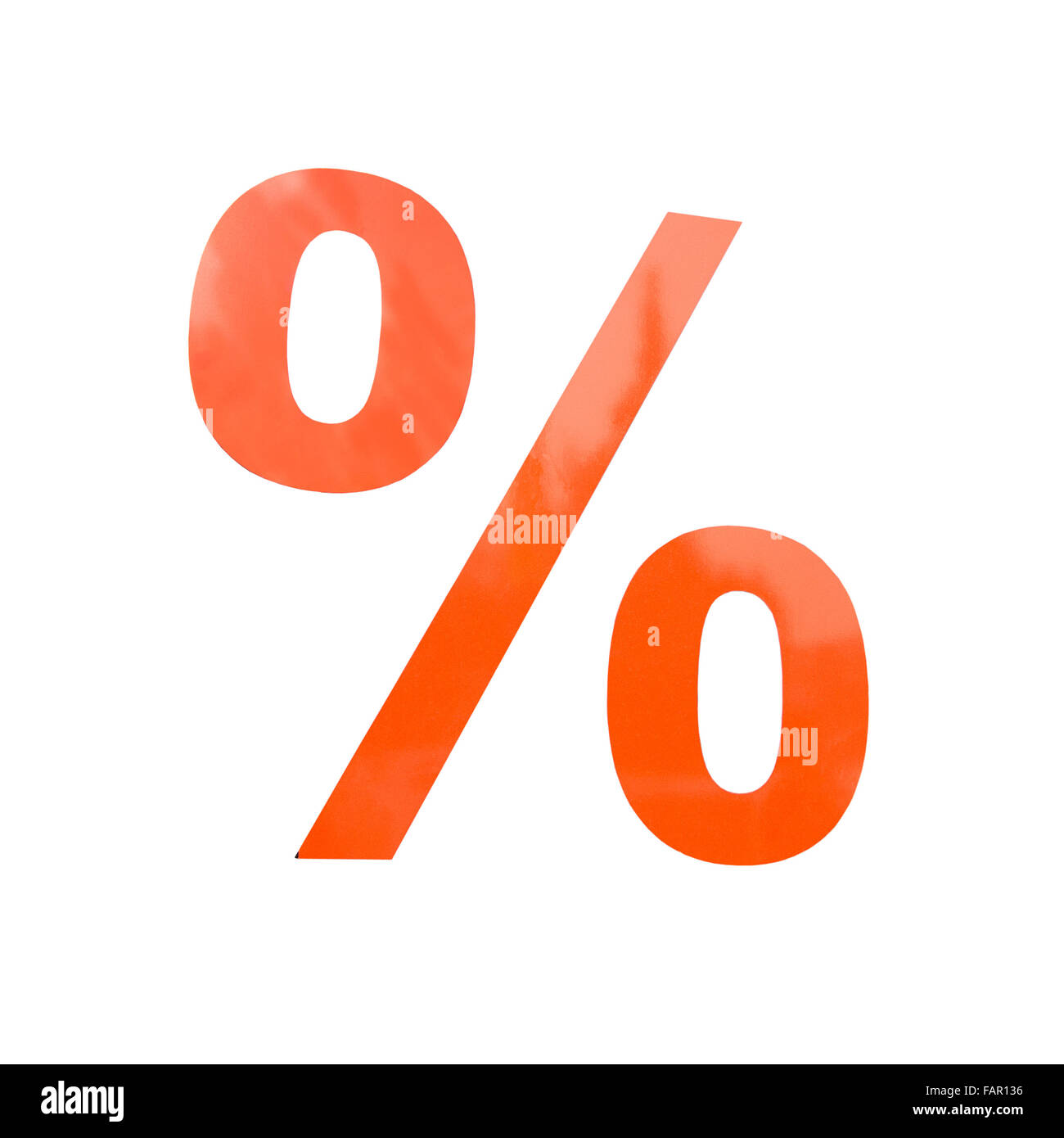 Percentage figure in orange color isolated on white. - Stock Image