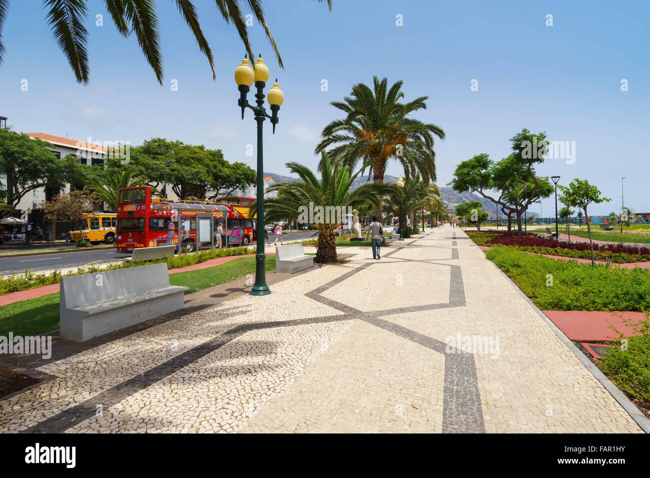 Madeira - capital city Funchal. Harbour park walk. - Stock Image