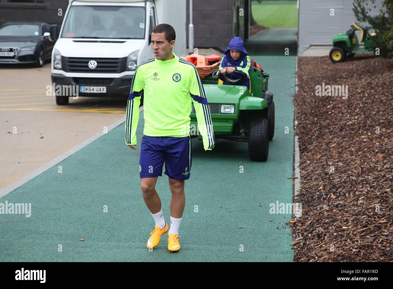 Cobham, Surrey, UK. 3rd January, 2016.  Eden Hazard Chelsea Footballer is pursued by Chelsea Team Doctor Eva Caneiro - Stock Image