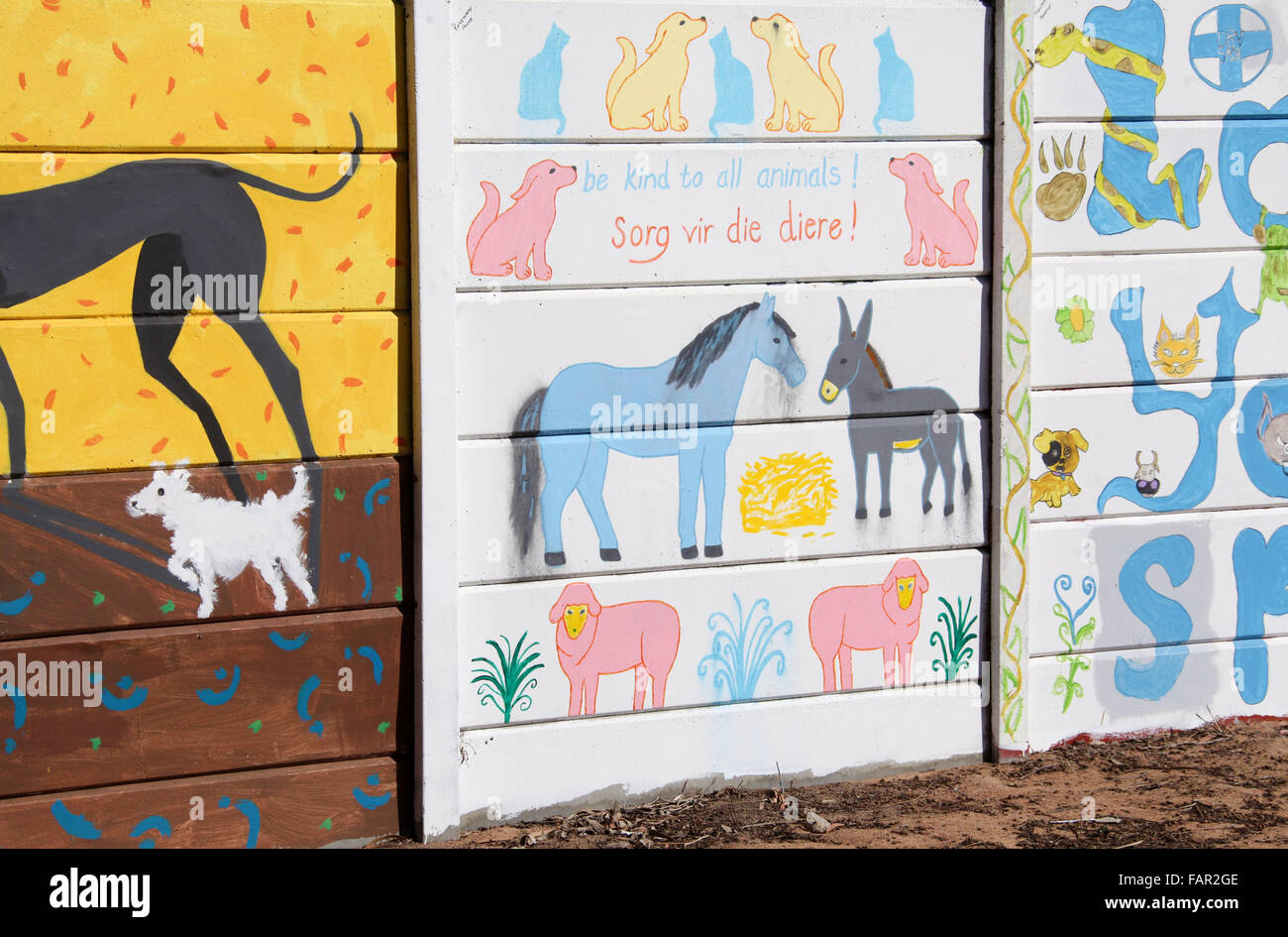 Animal welfare mural in South Africa - Stock Image