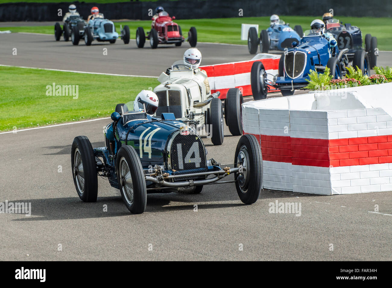 1934 Bugatti Type 59 owned by Charles McCabe and was raced by Charles Knill-Jones at the Goodwood Revival 2015 - Stock Image