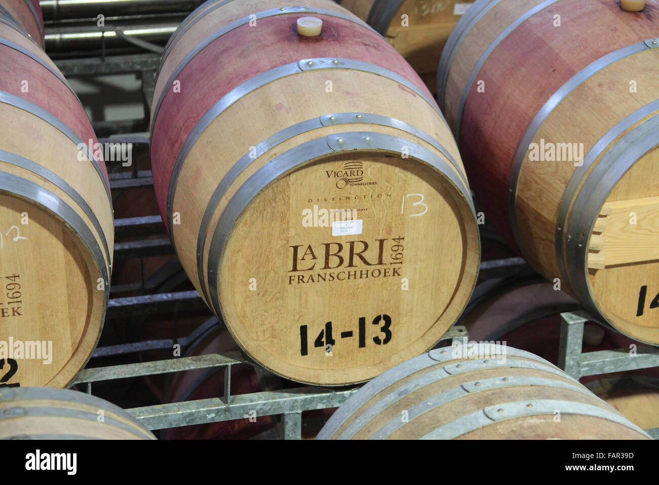 Wine barrels at La Bri estate at Franschhoek in the Western Cape of South Africa Stock Photo