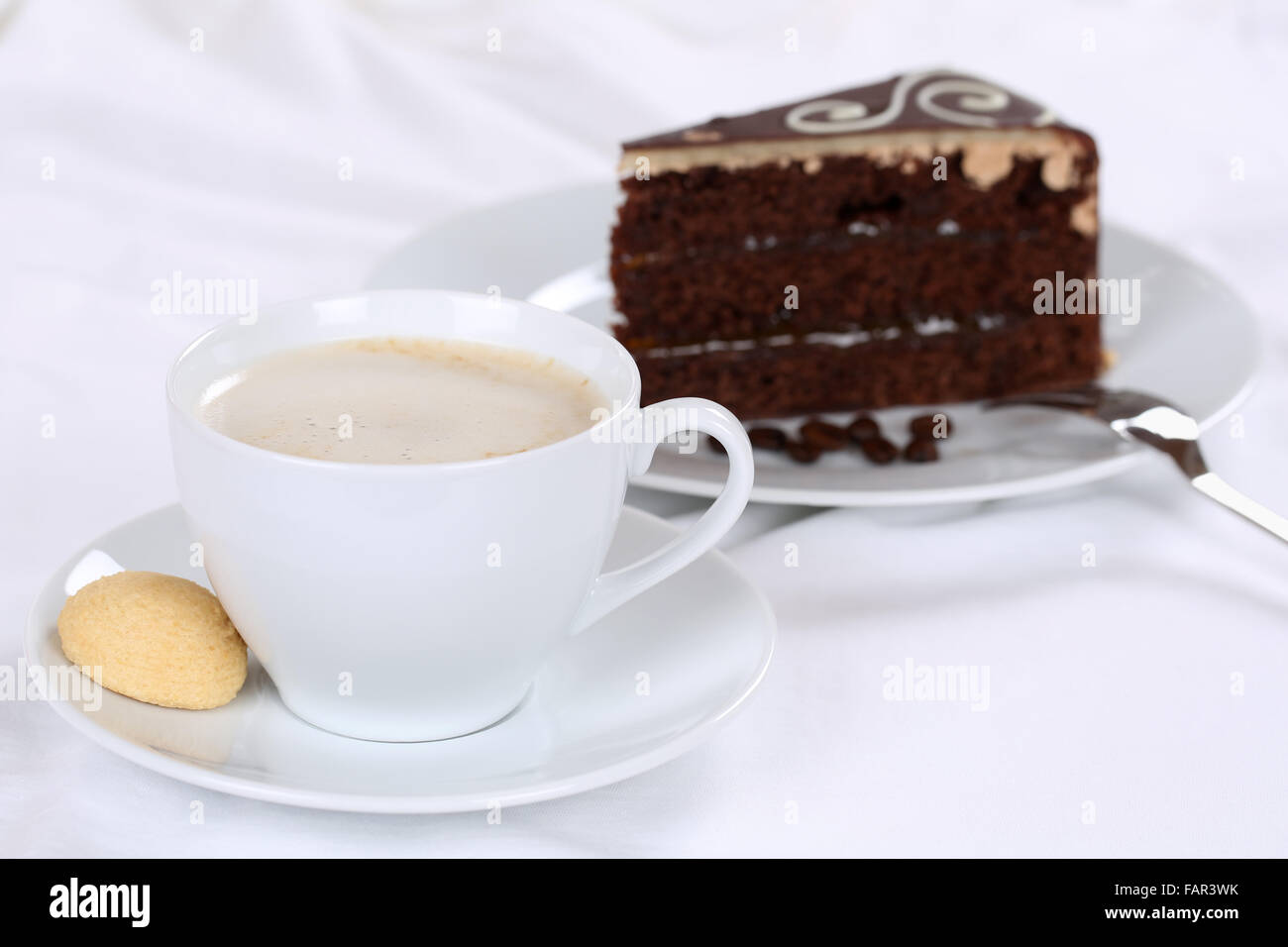 Coffee and cake sweet chocolate tart dessert pastry - Stock Image