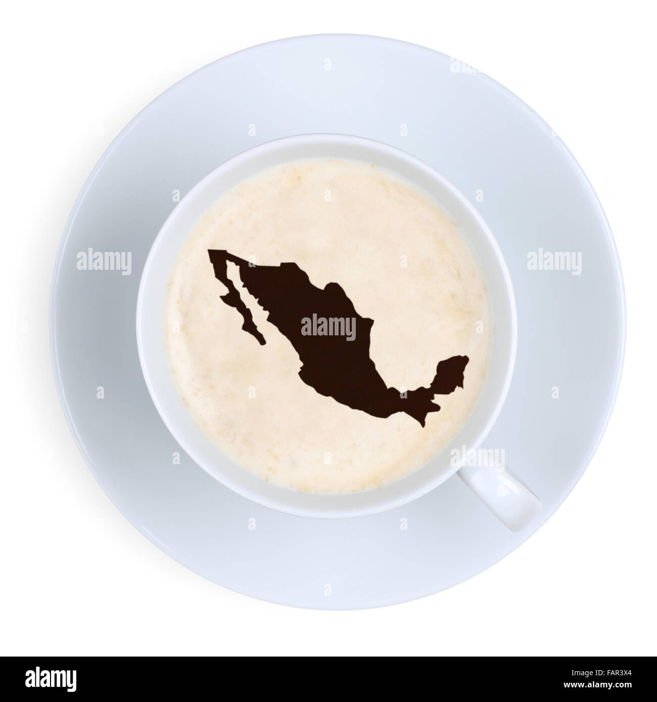Coffee in cup from Mexico map isolated on a white background - Stock Image