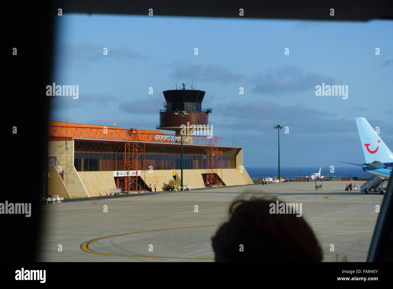 Madeira - flight to Madeira forced to land at Porto Santo nearby island airport. View from cabin door waiting to - Stock Image