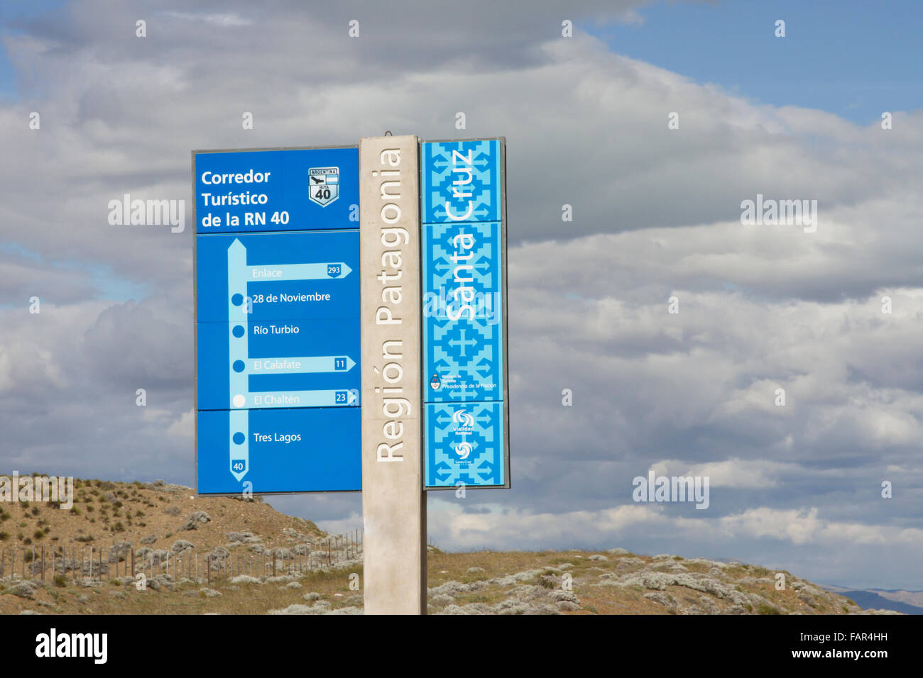 Santa Cruz, Argentina - December 3, 2015 :  Roadway sign for historic Route 40 in Patagonia, Argentina. - Stock Image