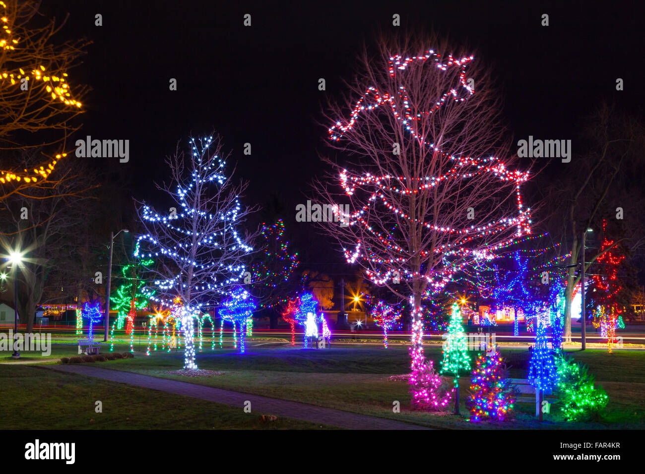 christmas lights in victoria park at night cobourg ontario canada stock