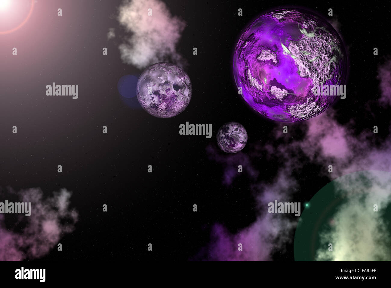 high resolution rendered planet Moon,Earth and Venus in Nebula. - Stock Image