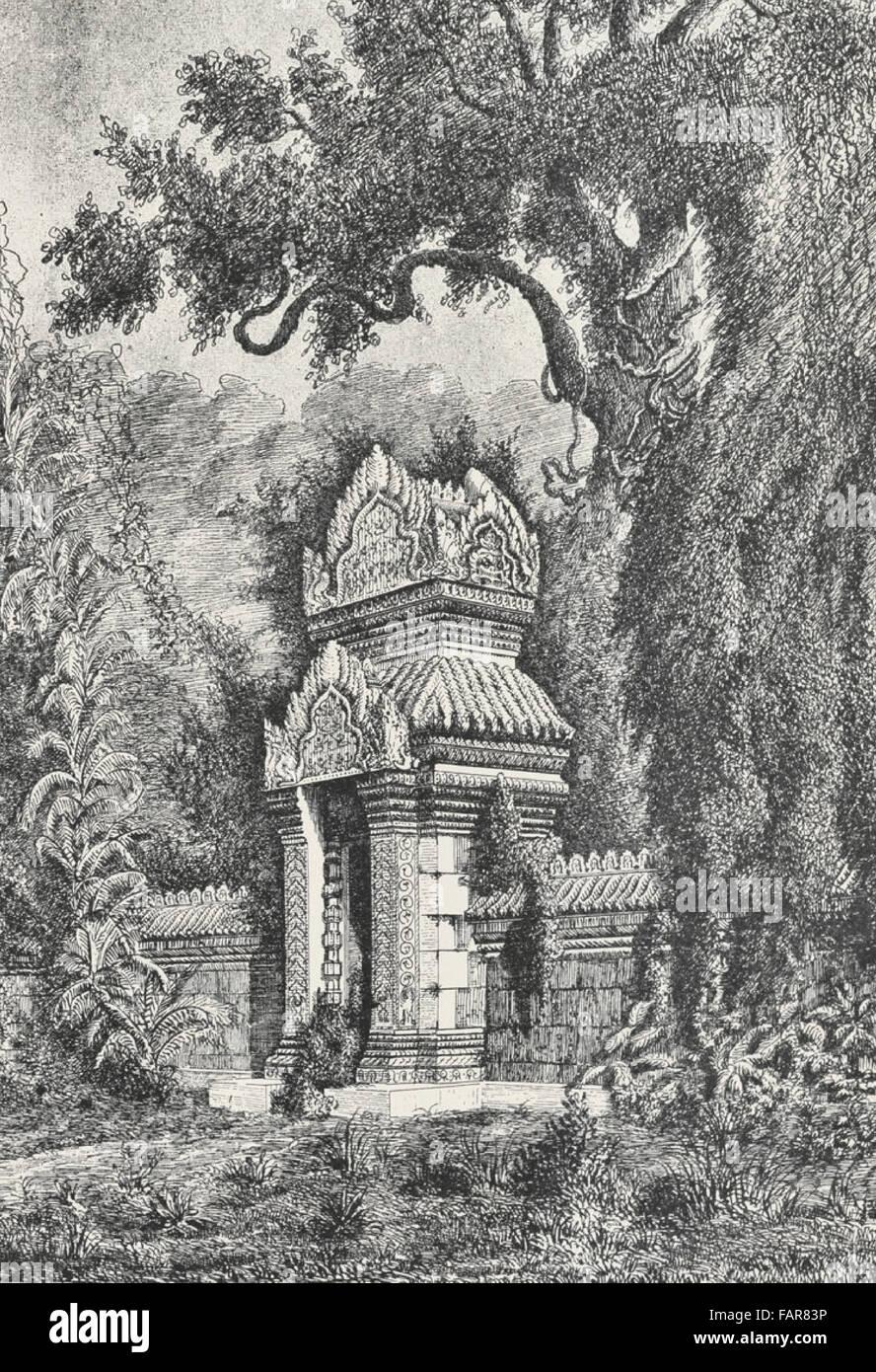 View Taking In The Ruins Presat - Pram . The north gate, Cambodia, circa 1880 - Stock Image
