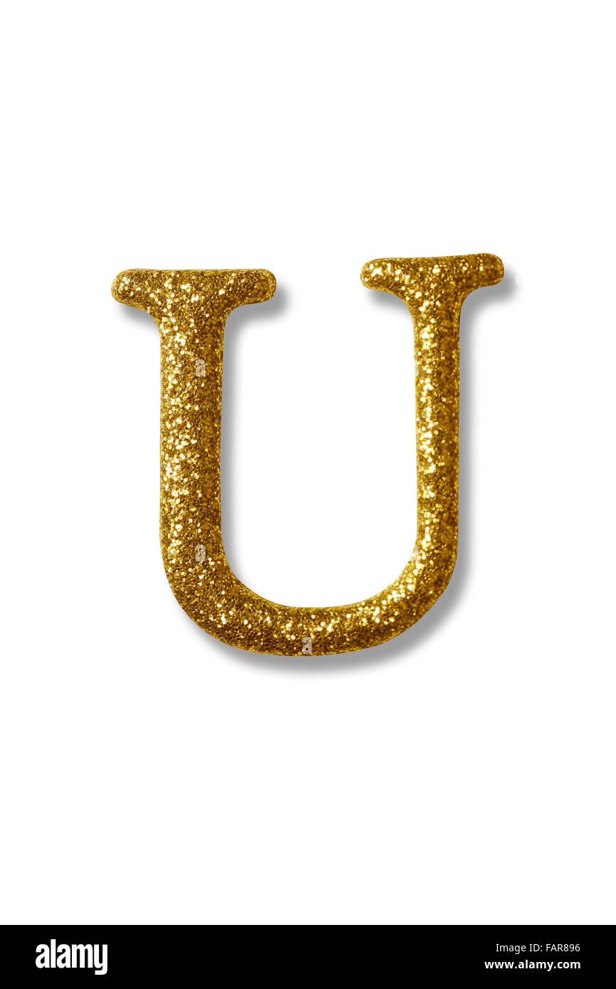 Clipping Path Of The Golden Alphabet U Stock Image