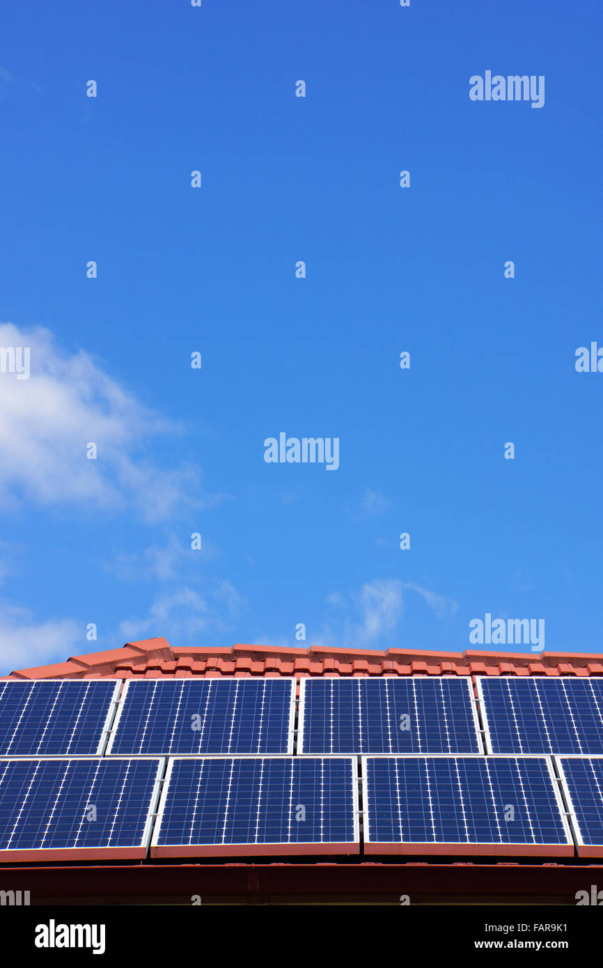 A photovoltaic cell, solar panel roof display, an alternative energy, sustainable resource, in Victoria, Australia. - Stock Image