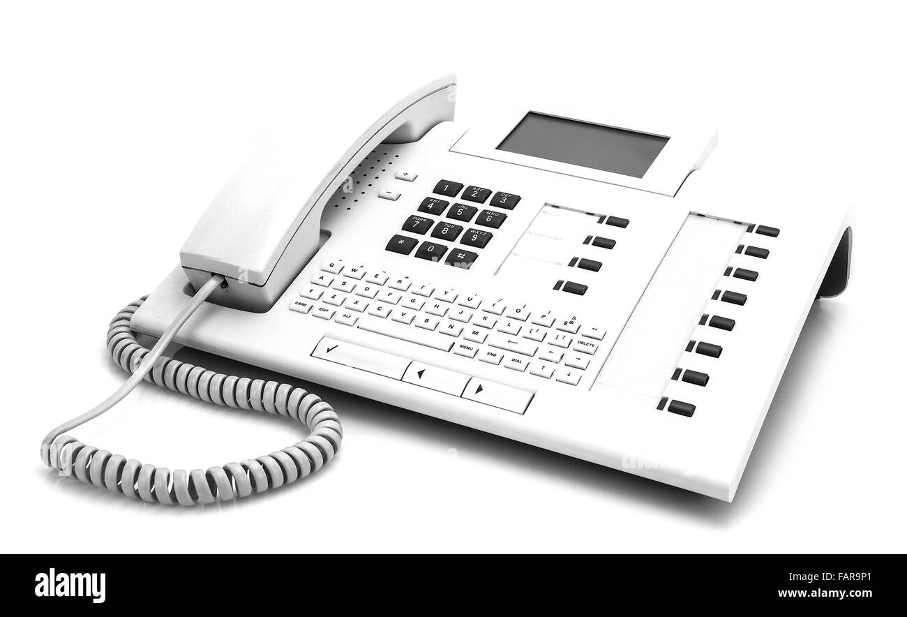 Modern White Office Phone on white background - Stock Image