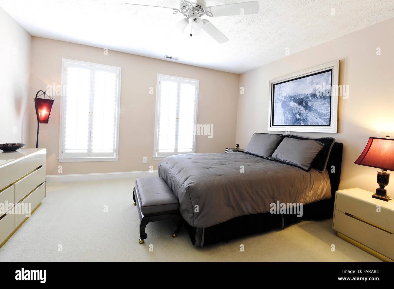 Contemporary Residential Bedroom - Stock Image