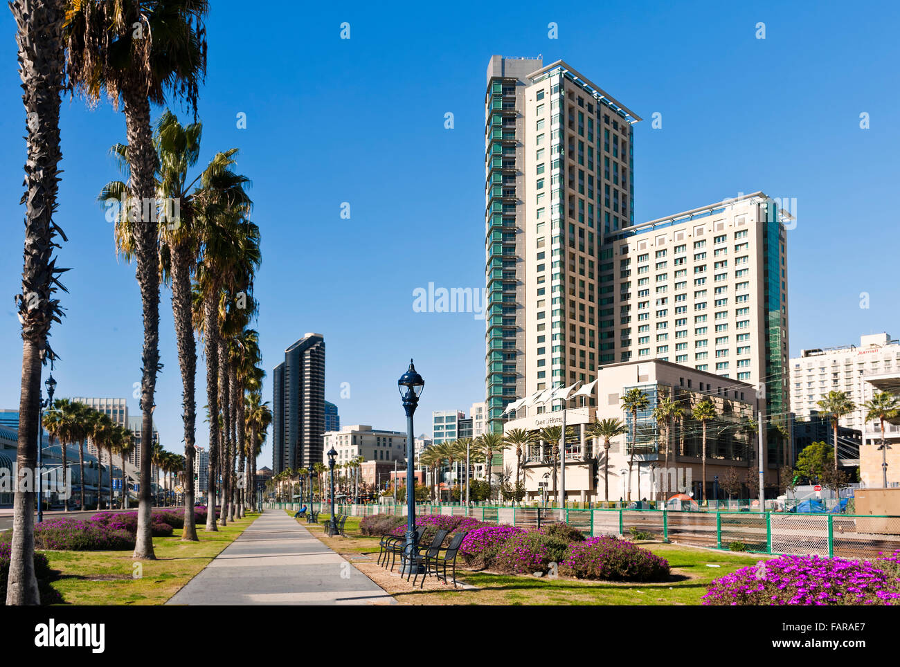 Downtown city scape with the Omni Hotel in San Diego, California - Stock Image