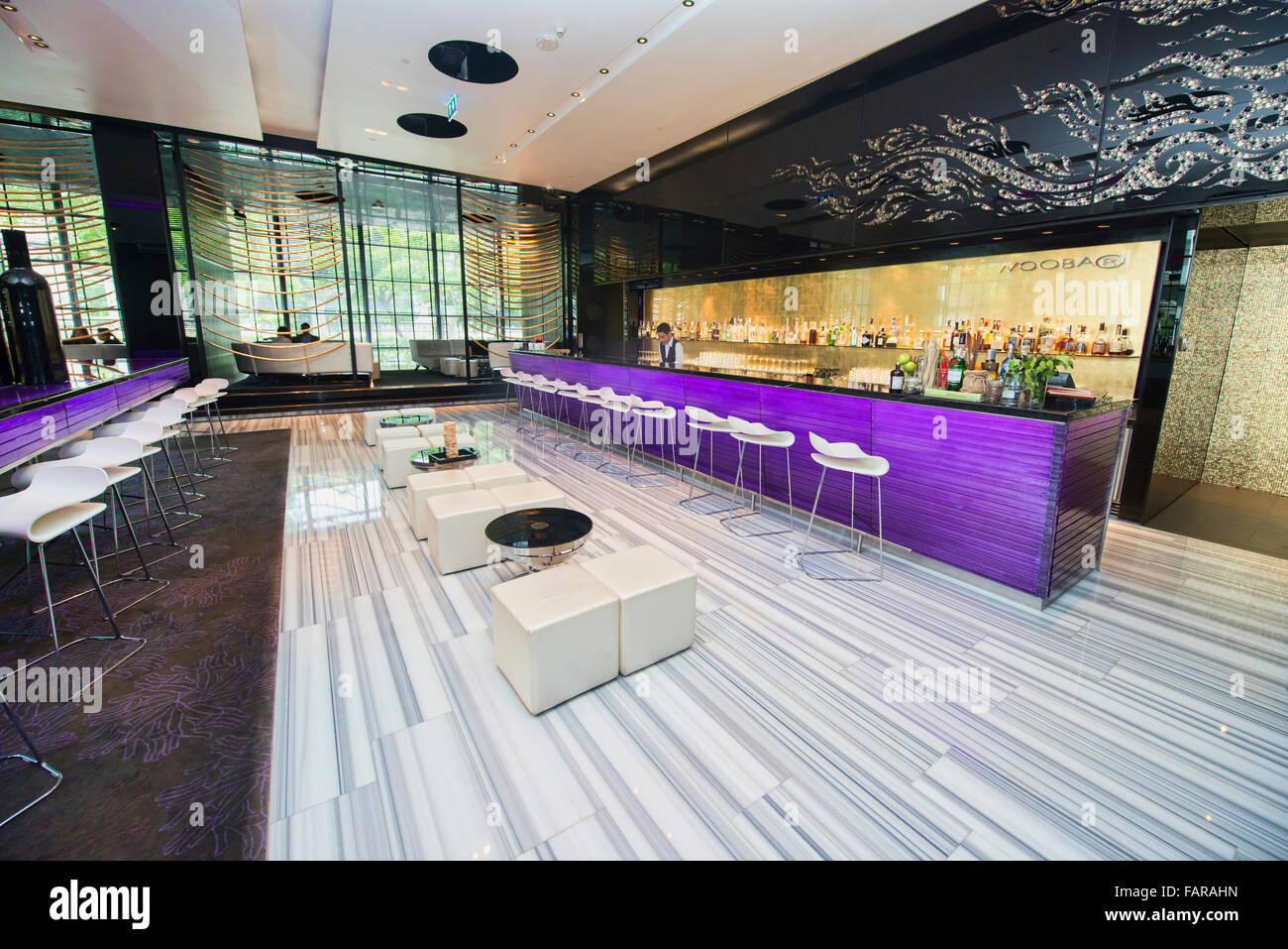 Chic urban design at the W Hotel, Bangkok, Thailand - Stock Image