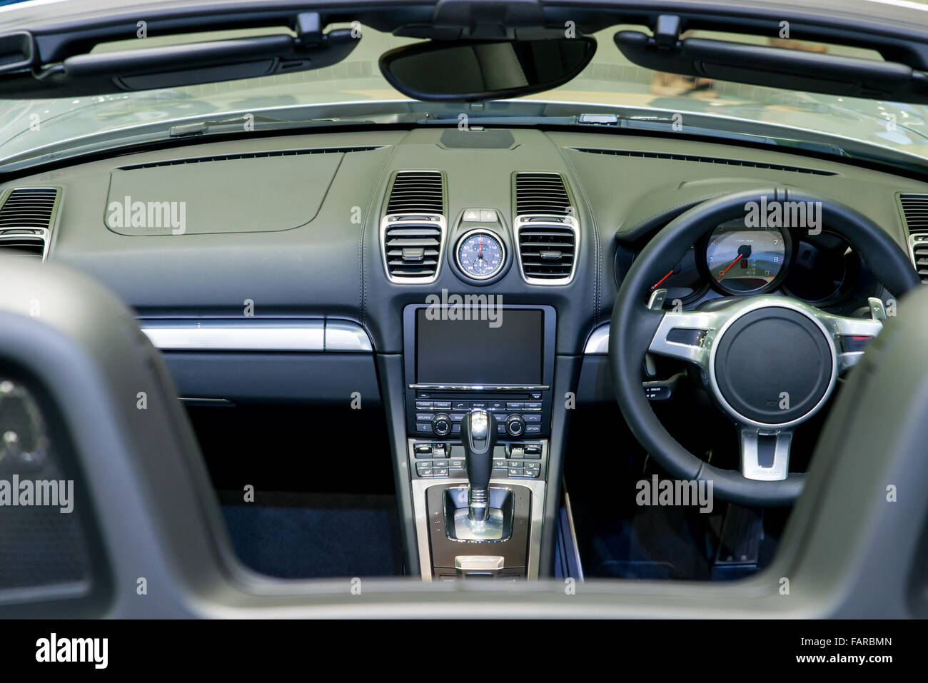 Interior of a modern automobile showing the dashboard - Stock Image