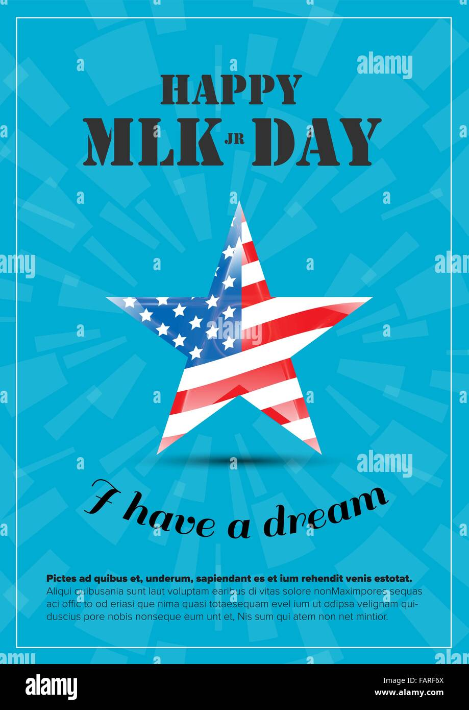 Vector Happy Martin Luther King Day Poster With Usa Flag Stock
