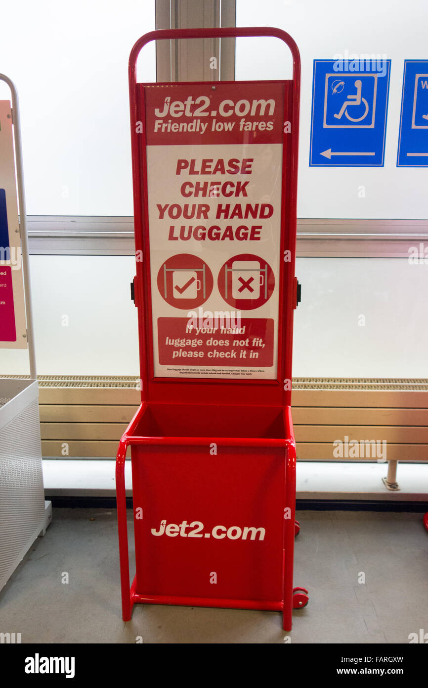 Jet2 hand luggage measure - Chambery airport, France - Stock Image