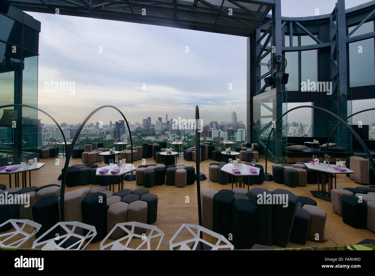 City view from a cool sky bar in Bangkok, Thailand - Stock Image