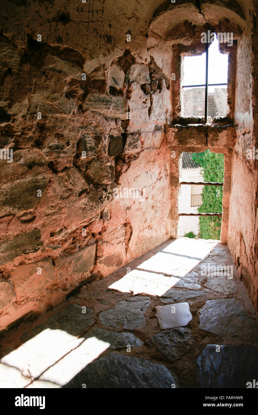 Olivenza castle window, built by Templar Knights at 13th Century - Stock Image