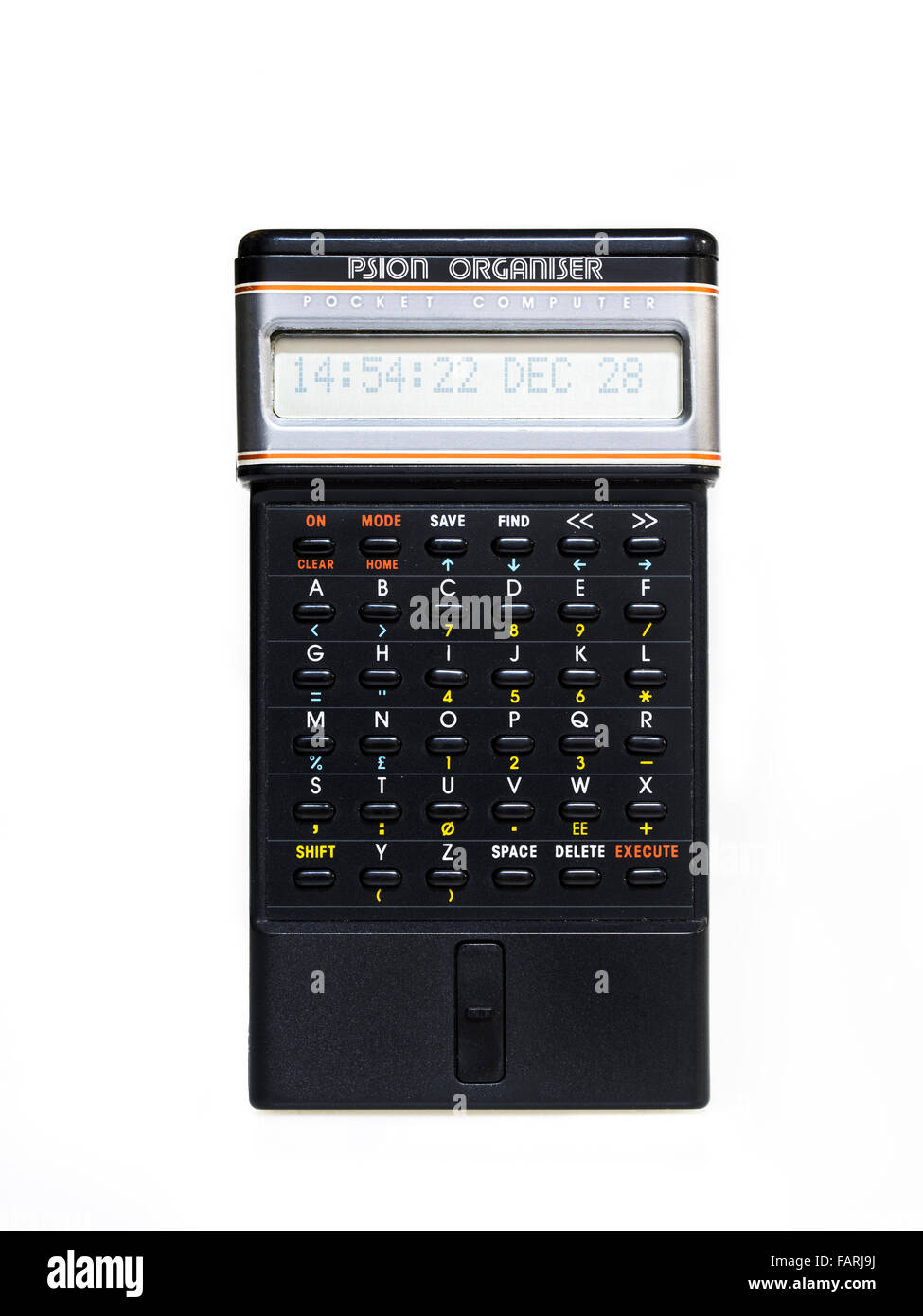 Psion Organiser pocket computer by Psion made in  1984. World's first personal digital assiatant  P.D.A.  Made - Stock Image
