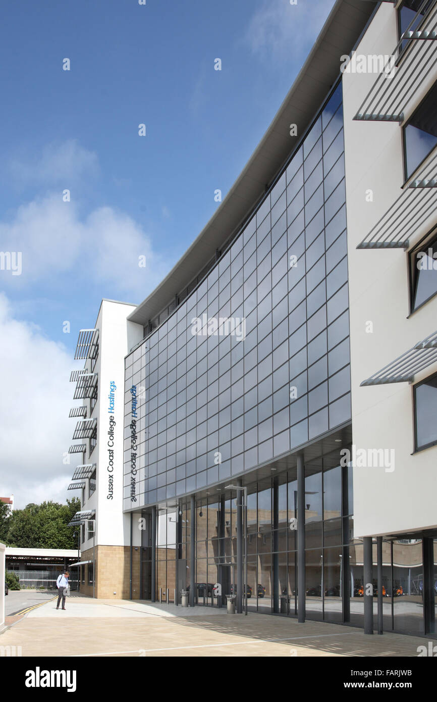 External view of Sussex Coast College, Hastings, UK. A new, architecturally striking Further Education college. - Stock Image