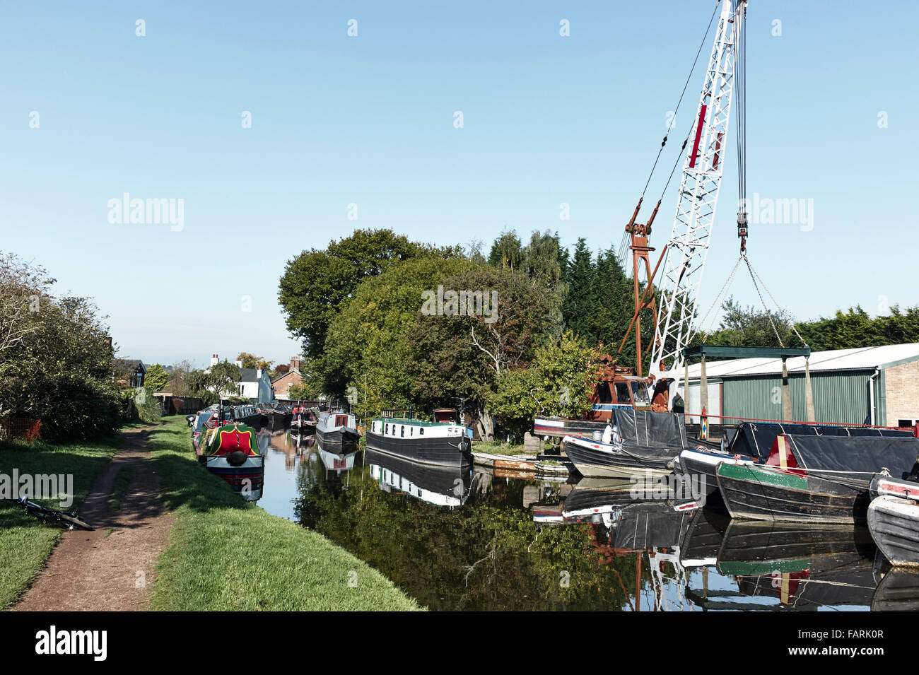 Congested canal at Stone - Stock Image