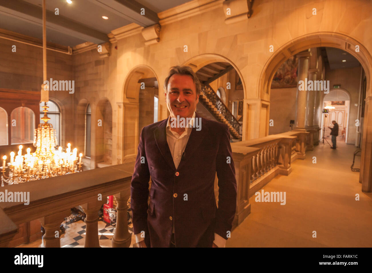 Paul Martin,presenter of the television show,'Flog It' in a break from filming at Bowes Museum,Barnard Castle, - Stock Image