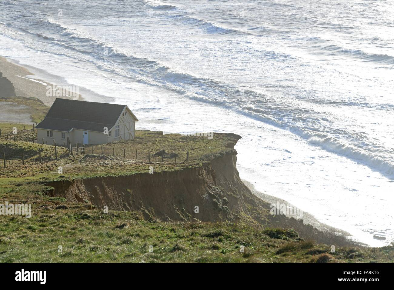 Broadchurch chalet, Briar Cliff beach hut, used as key location of TV series at Eype in Dorset, Britain, UK - Stock Image