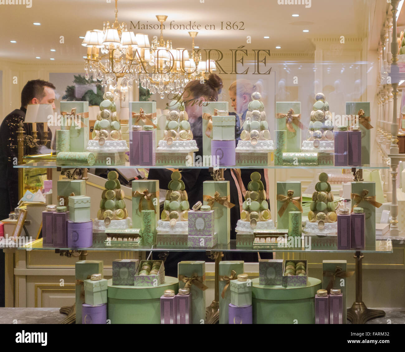 Luxury French Bakery Laduree Window Display In The French