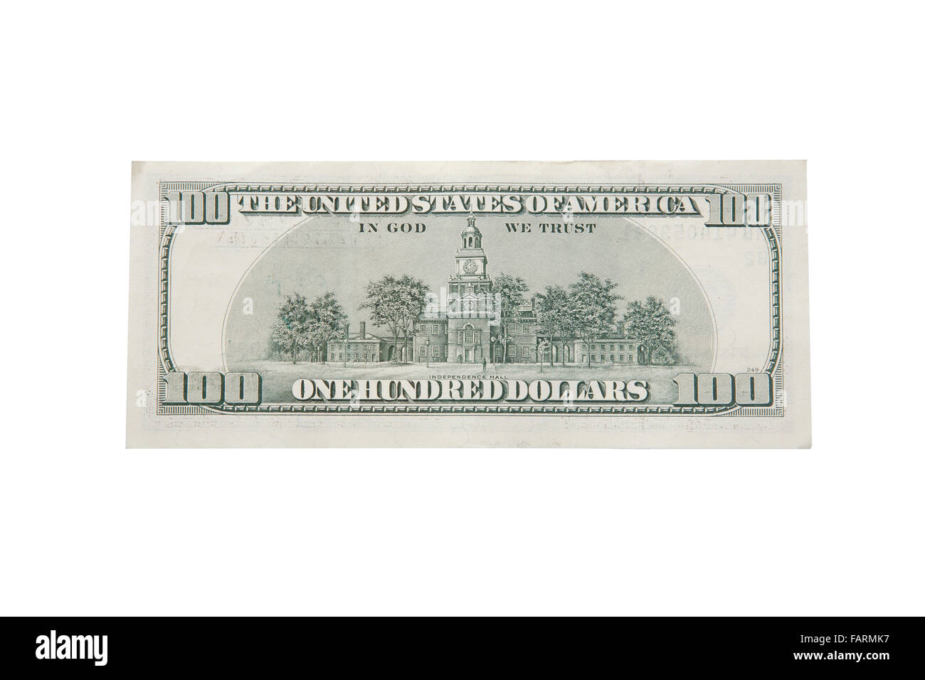 Back design of hundred dollar banknote,isolated on white with clipping path. - Stock Image