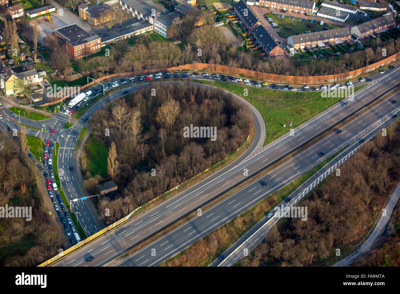 Aerial view, A52 Motorway Oberhausen Neue Mitte with storage, car storage for Centro Shopping Centre, Oberhausen, Stock Photo