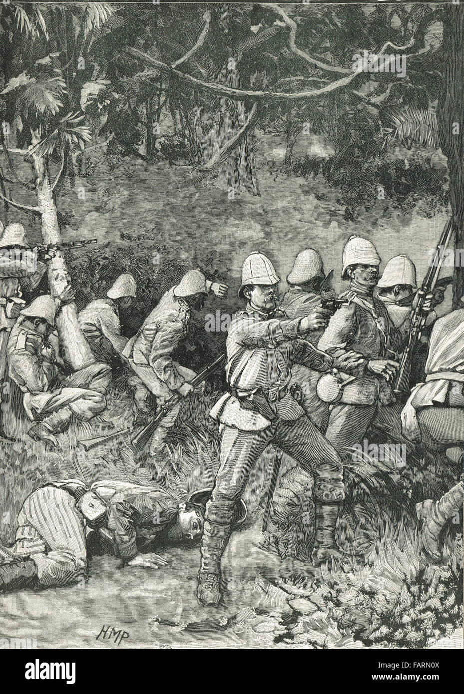 British Troops entering Coomassie (Now Kumasi in Ghana) in 1874 - Stock Image