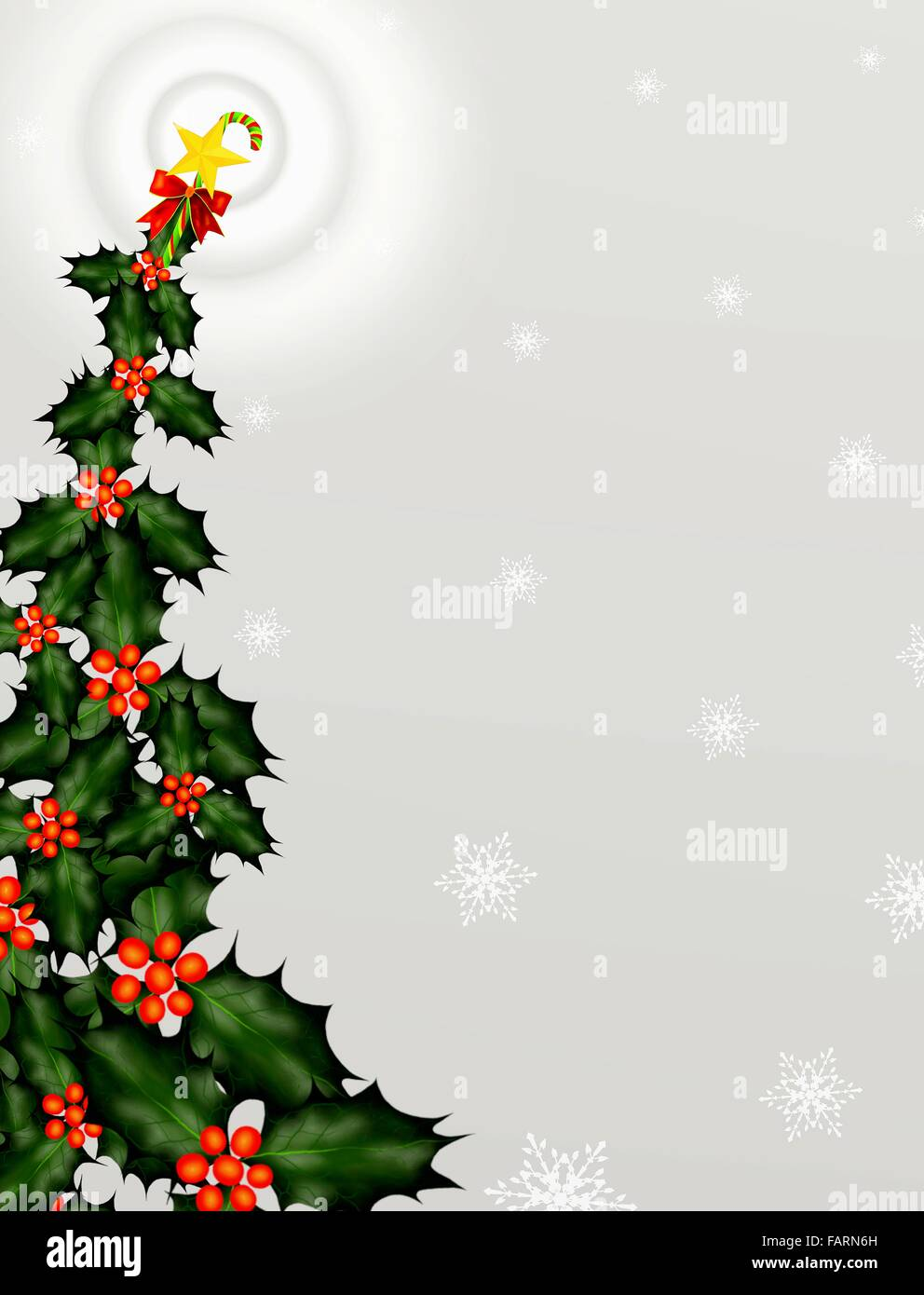 The Holly Leaves And Berry On The Shape Of Christmas Tree