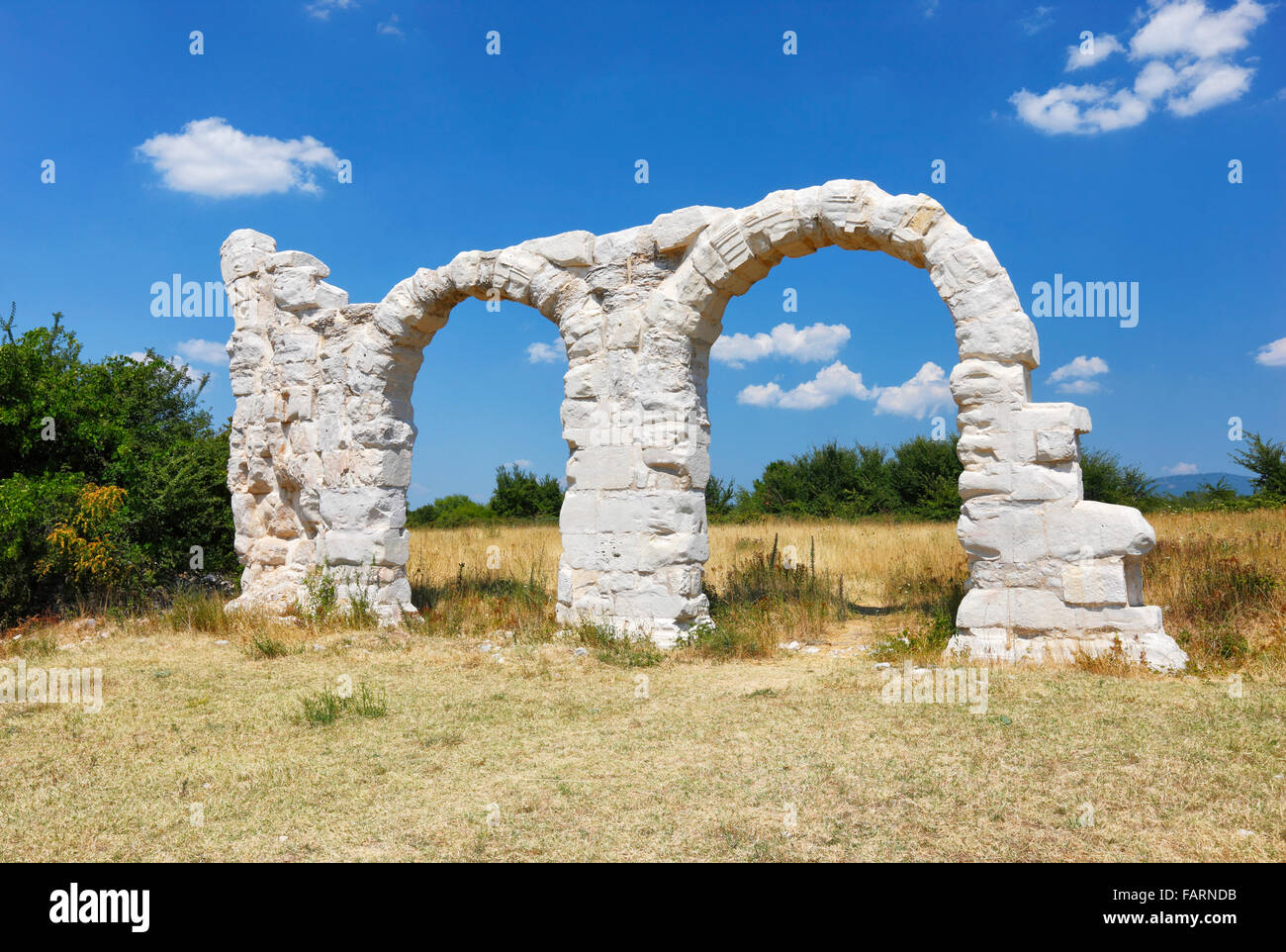 The arches at Burnum, Croatia.It was a Roman Legion camp and town. - Stock Image