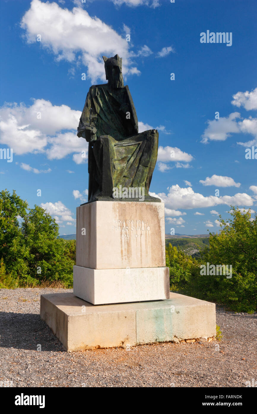 Statue of Croatian King Petar Svacic 1093-1097. Krka National park near Visovac - Stock Image
