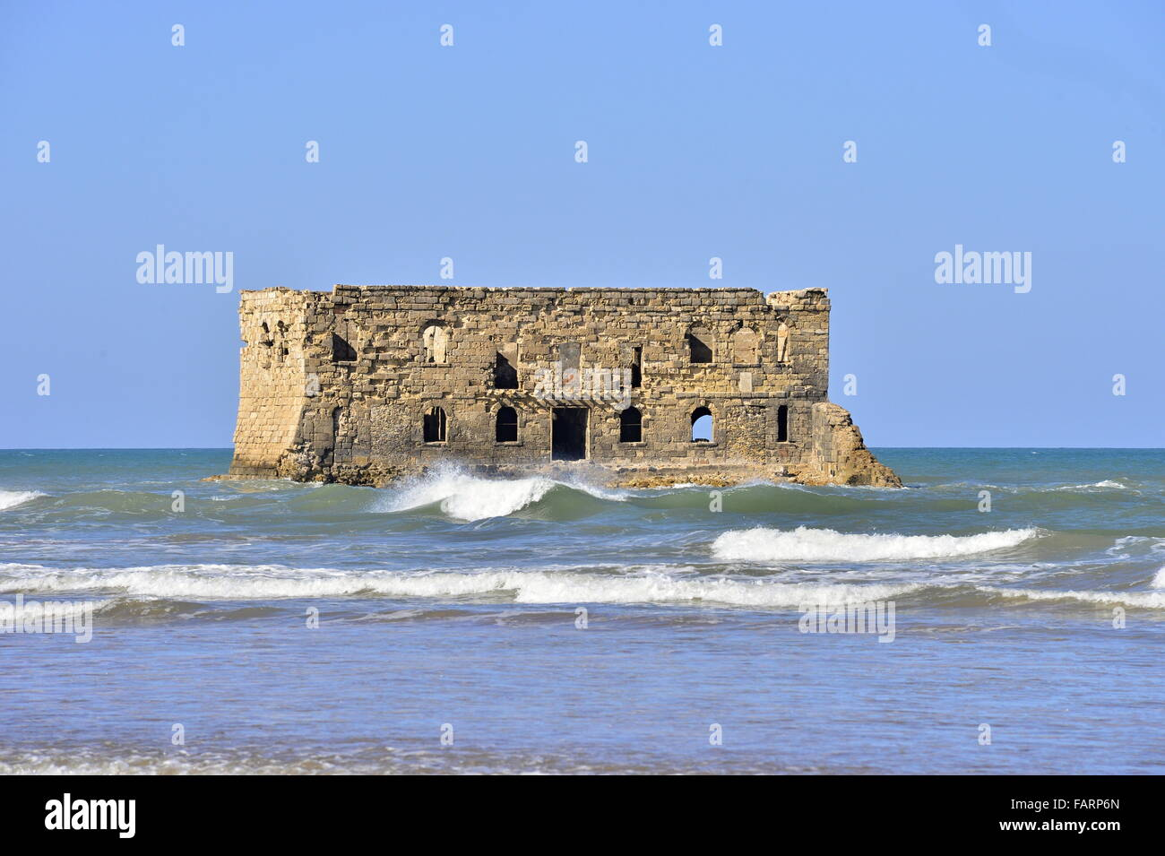old prison in Tarfaya in Morocco with sea - Stock Image