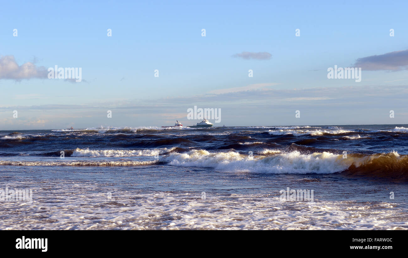 A sunny winter's day at the Donmouth Estuary, Aberdeen. Scotland - Stock Image